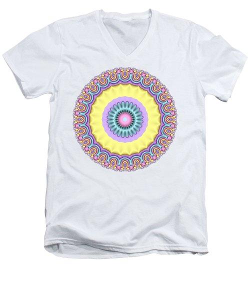Pastel Peacock Fractal Flower Men's V-Neck T-Shirt