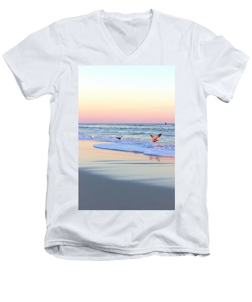 Pastels On Water Men's V-Neck T-Shirt by Faith Williams