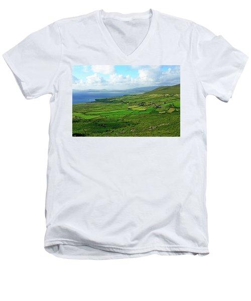Patchwork Landscape Men's V-Neck T-Shirt