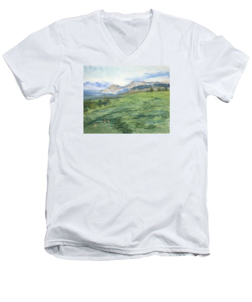 Patchwork Of Green Men's V-Neck T-Shirt