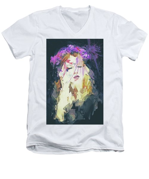 Men's V-Neck T-Shirt featuring the digital art Path Abstract Portrait by Galen Valle