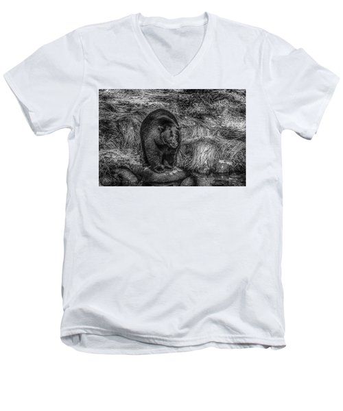 Patient Black Bear Men's V-Neck T-Shirt