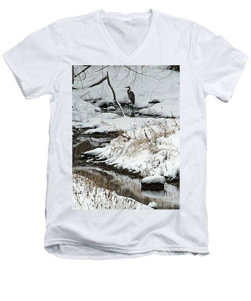 Men's V-Neck T-Shirt featuring the photograph Patiently Waiting 1 by Paula Guttilla