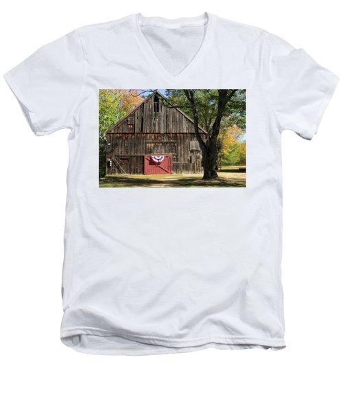 Patriotic Barn Men's V-Neck T-Shirt by Nancy De Flon