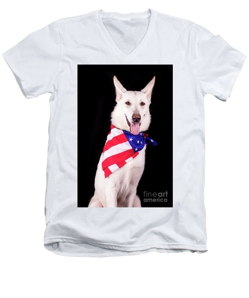 Patriotic Dog Men's V-Neck T-Shirt