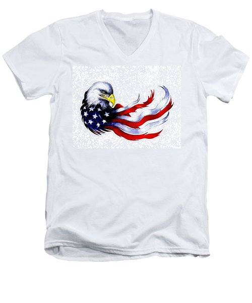 Patriotic Eagle Signed Men's V-Neck T-Shirt