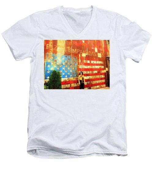 Patriotic Empanadas Wall In New York  Men's V-Neck T-Shirt by Funkpix Photo Hunter