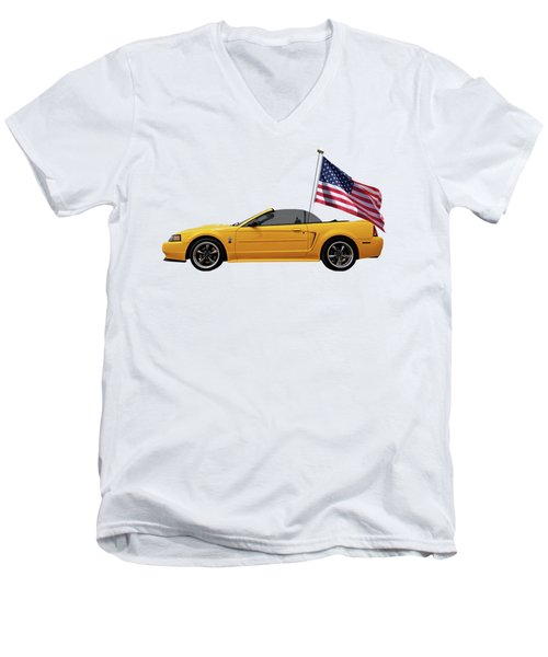 Men's V-Neck T-Shirt featuring the photograph Patriotic Yellow Mustang With Us Flag by Gill Billington
