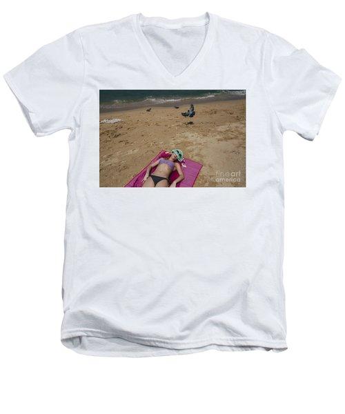 Men's V-Neck T-Shirt featuring the photograph Pattaya Beach by Setsiri Silapasuwanchai