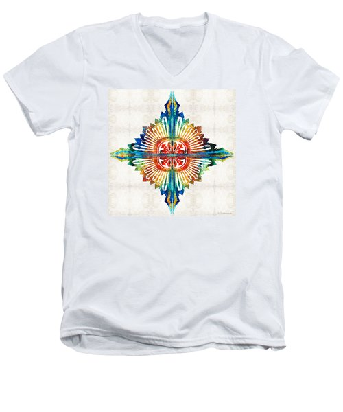 Pattern Art - Color Fusion Design 1 By Sharon Cummings Men's V-Neck T-Shirt
