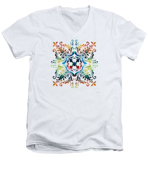 Men's V-Neck T-Shirt featuring the painting Pattern Art - Color Fusion Design 7 By Sharon Cummings by Sharon Cummings
