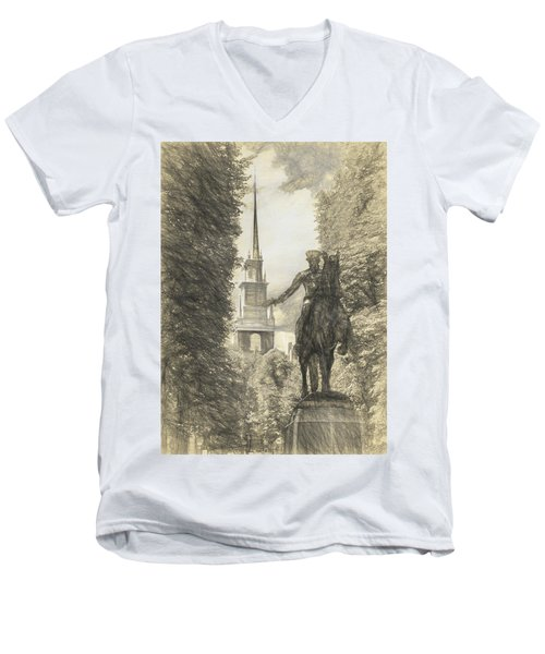 Paul Revere Rides Sketch Men's V-Neck T-Shirt