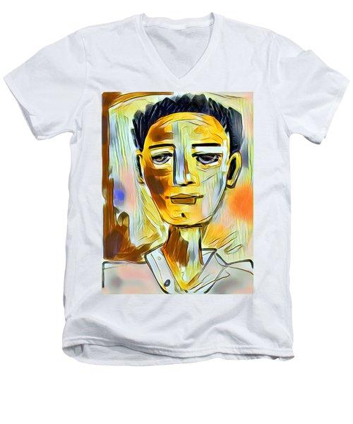 Pauls Portrait Men's V-Neck T-Shirt by Elaine Lanoue