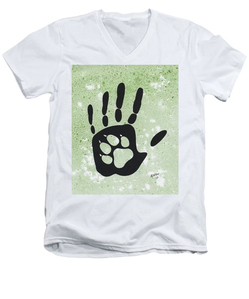Paw And Hand Men's V-Neck T-Shirt