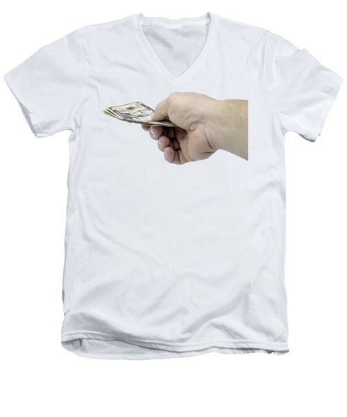 Pay Money Men's V-Neck T-Shirt by Erich Grant