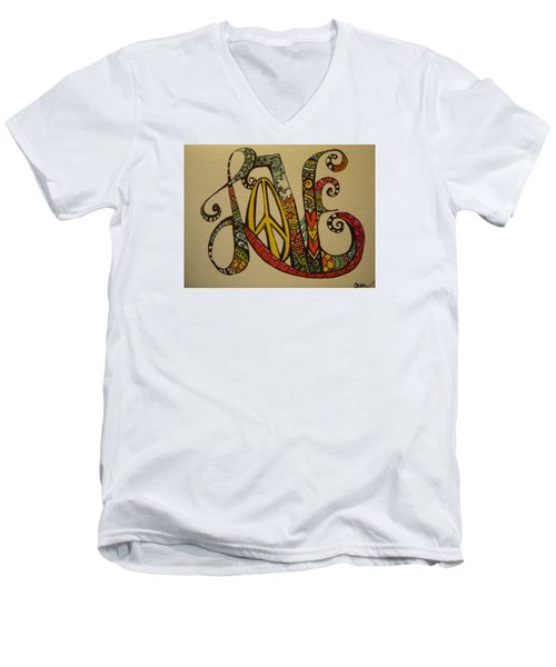 Peace And Love Men's V-Neck T-Shirt by Claudia Cole Meek