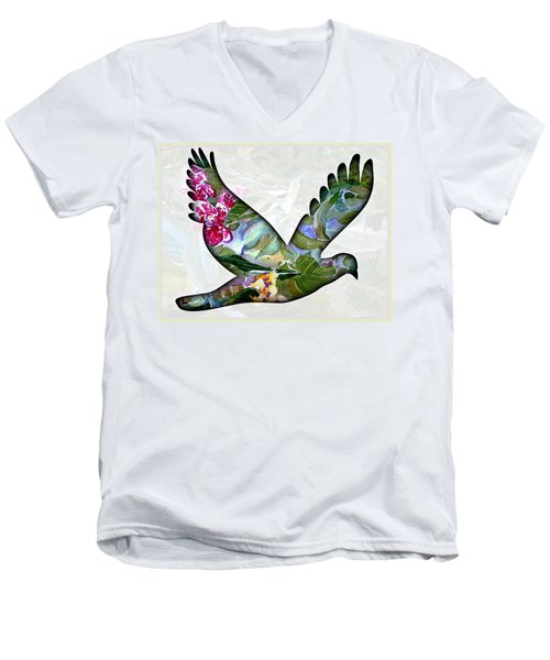 Peace For Peace Men's V-Neck T-Shirt by Mindy Newman