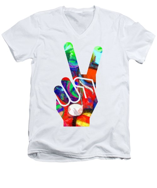 Peace Hippy Paint Hand Sign Men's V-Neck T-Shirt by Edward Fielding