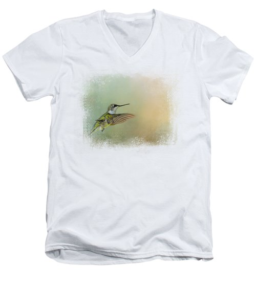 Peaceful Day With A Hummingbird Men's V-Neck T-Shirt