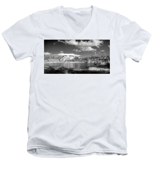 Men's V-Neck T-Shirt featuring the photograph Peaceful Lake by Jon Glaser