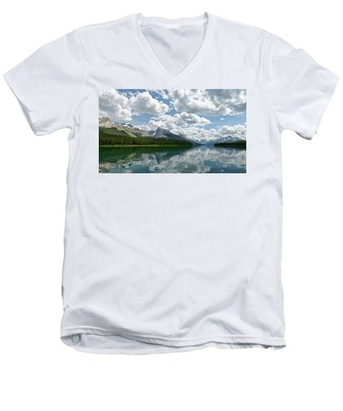 Men's V-Neck T-Shirt featuring the photograph Peaceful Maligne Lake by Sebastien Coursol