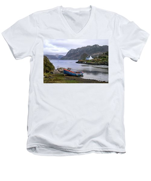 Peaceful Plockton Men's V-Neck T-Shirt by Jacqi Elmslie