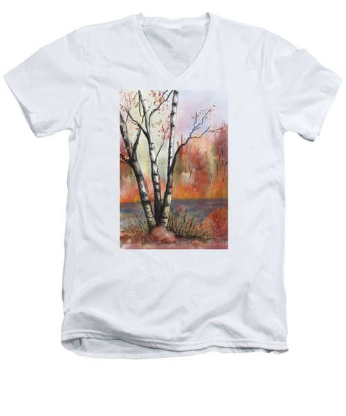 Men's V-Neck T-Shirt featuring the painting Peaceful River by Annette Berglund