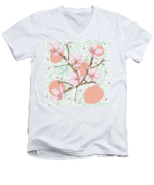 Peach Blossom Pattern Men's V-Neck T-Shirt