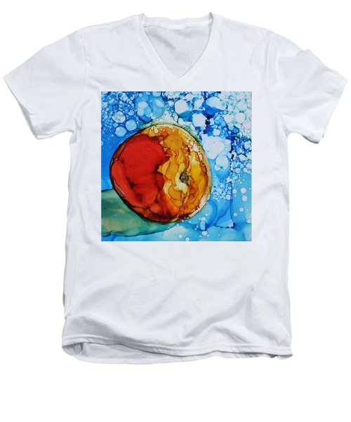 Men's V-Neck T-Shirt featuring the painting Peach by Ruth Kamenev