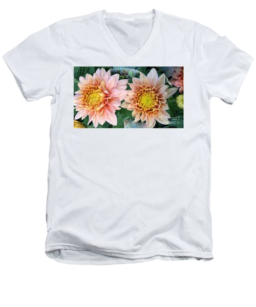 Peachy Chrysanthemums Men's V-Neck T-Shirt