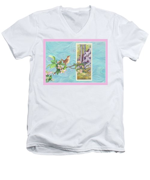 Peacock And Cherry Blossom With Wren Men's V-Neck T-Shirt by Judith Cheng
