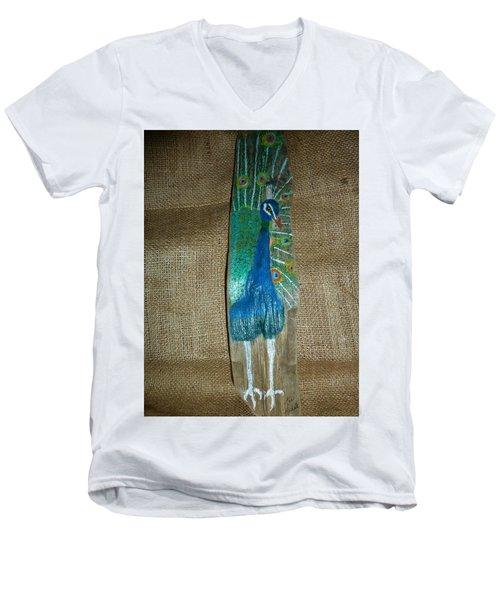 Peacock Men's V-Neck T-Shirt by Ann Michelle Swadener