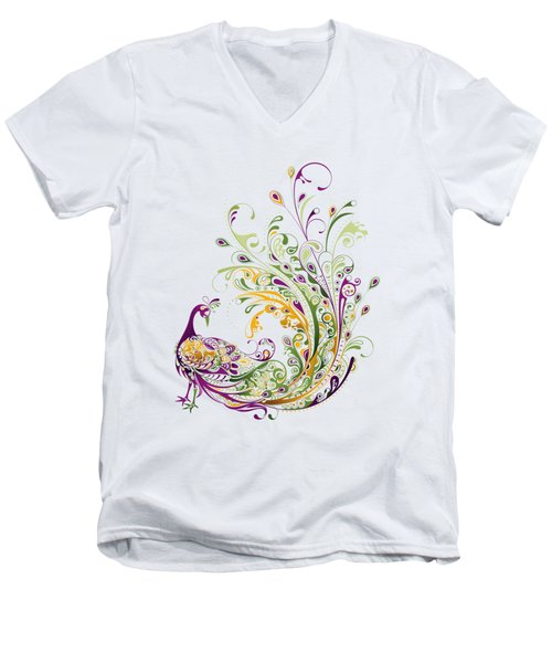 Peacock Men's V-Neck T-Shirt by BONB Creative