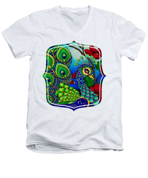 Peacock Zentangle Inspired Art Men's V-Neck T-Shirt