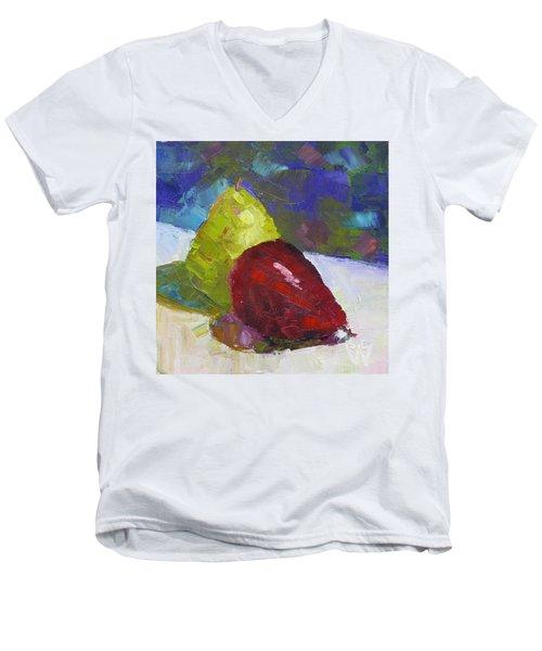 Pear Pair Men's V-Neck T-Shirt by Susan Woodward