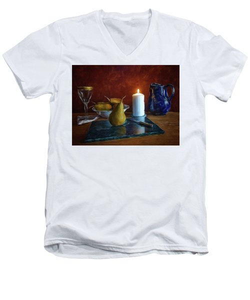 Pears By Candlelight Men's V-Neck T-Shirt by Mark Fuller