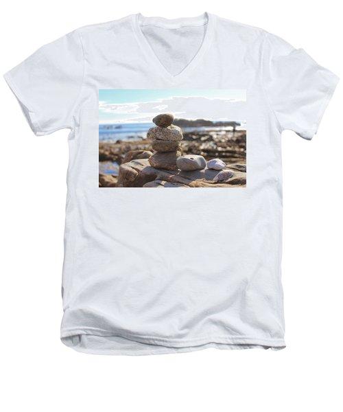 Peceful Zen Rocks Men's V-Neck T-Shirt
