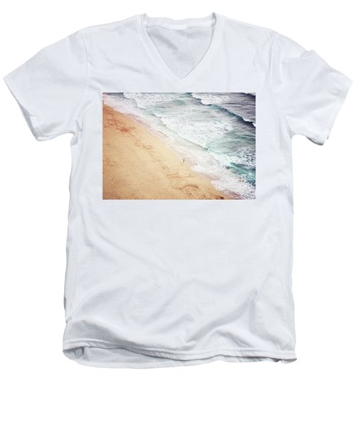 Men's V-Neck T-Shirt featuring the photograph Pedn Vounder by Lyn Randle