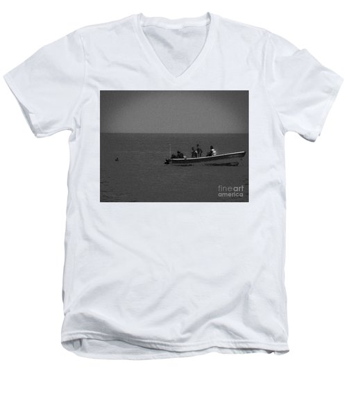 Pelican And The Fishing Boat Men's V-Neck T-Shirt