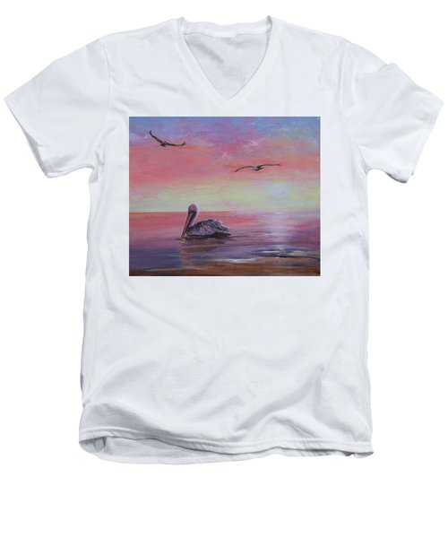 Men's V-Neck T-Shirt featuring the painting Pelican Bay by Ruth Kamenev