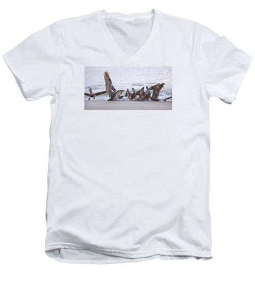 Men's V-Neck T-Shirt featuring the photograph Pelican Brunch by Patricia Schaefer