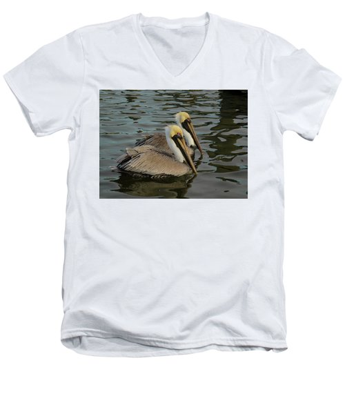 Men's V-Neck T-Shirt featuring the photograph Pelican Duo by Jean Noren