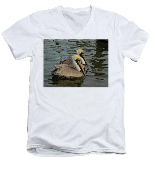 Pelican Duo Men's V-Neck T-Shirt by Jean Noren
