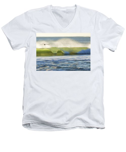 Men's V-Neck T-Shirt featuring the photograph Pelican Flying Over Wind Wave by John A Rodriguez