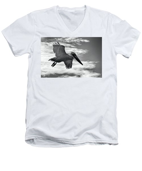 Men's V-Neck T-Shirt featuring the photograph Pelican In Flight by AJ Schibig