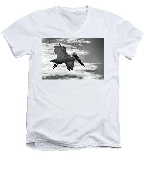 Pelican In Flight Men's V-Neck T-Shirt