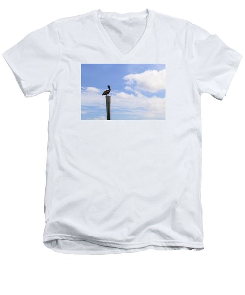 Pelican In The Clouds Men's V-Neck T-Shirt