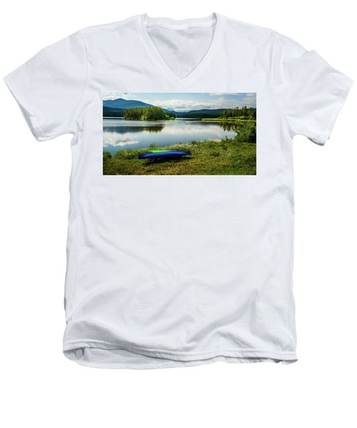Pelicans At Shadow Mountain Lake Men's V-Neck T-Shirt