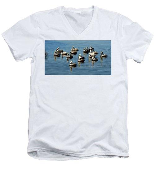 Pelicans Blue Men's V-Neck T-Shirt