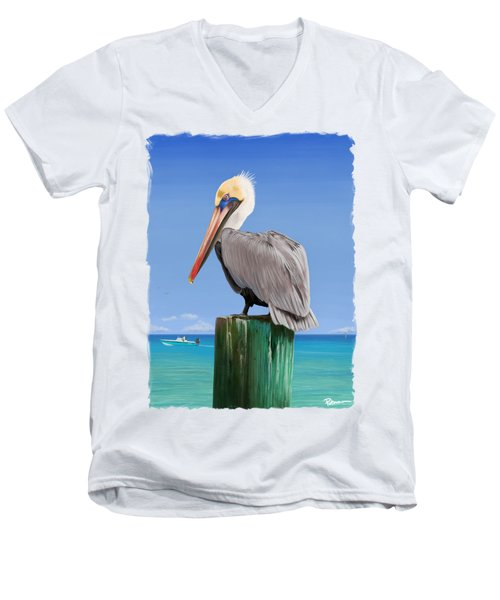 Pelicans Post Men's V-Neck T-Shirt